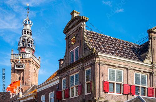 Photo  Amsterdam, Waterland district, Monnickemdam, a palace and the Parish curcu bell