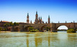 Zaragoza. Stone bridge and Cathedral