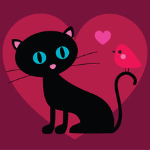 Cat And Bird Valentine