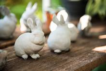 White Rabbit Concrete Figure