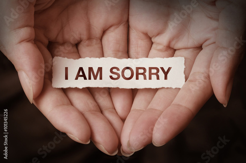 Photo I am sorry text on hand