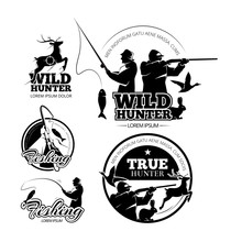 Vintage Hunting And Fishing Vector Labels, Logos And Emblems Set. Deer And Rifle, Rod And Aiming Illustration