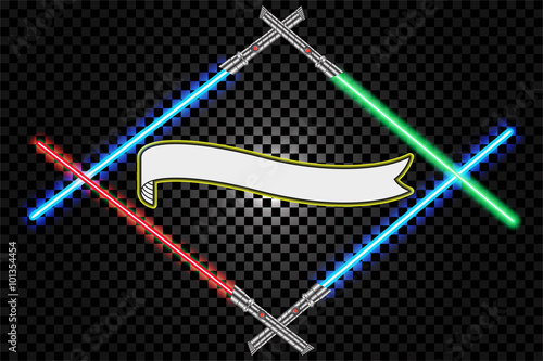Crossed light swords futuristic on checkered background, star war and ribbon emb Canvas Print