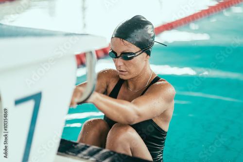 Backstroke swimming race start Canvas Print
