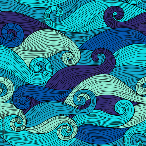 Foto op Canvas Abstract wave Vector seamless pattern with abstract waves