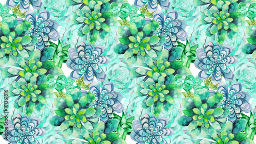 Cotton fabric Watercolor succulent pattern