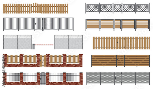 Fotografía Metal and wooden fences and gates.