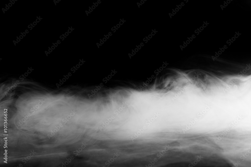 Fototapety, obrazy: Abstract fog or smoke move on black color background