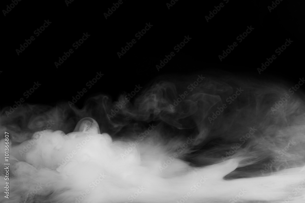 Fototapeta Abstract fog or smoke move on black color background