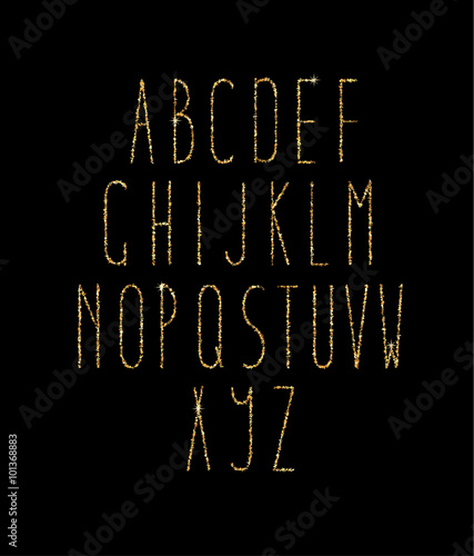 Gold Foil Calligraphy Alphabet  - Buy this stock vector and explore