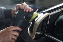 Car Service. Polishing Mirror Of The Car