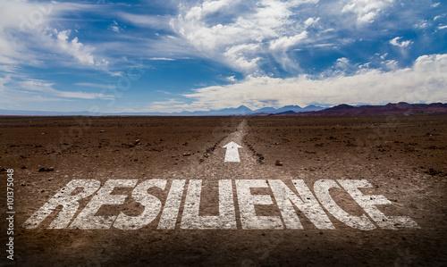 Photo Resilience written on desert road