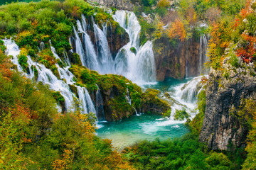 Obraz Detailed view of the beautiful waterfalls in the sunshine in Plitvice National Park, Croatia