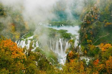 Obraz Greatest waterfalls in Plitvice National Park, Croatia UNESCO world heritage site