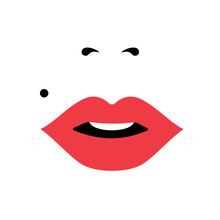 Girl Face With Red Lipstick, W...