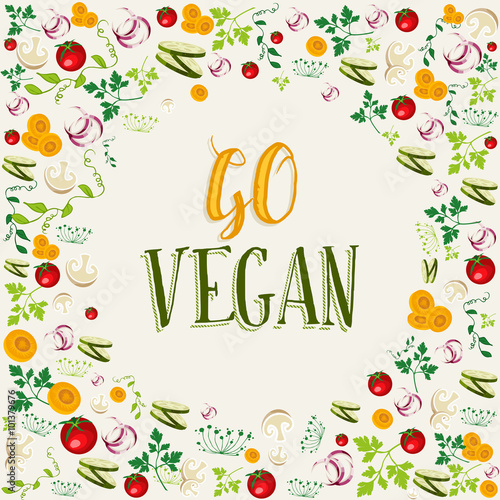 Fotografie, Obraz  Raw vegetable background with go vegan text