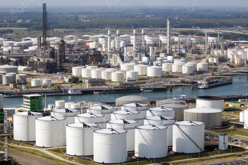 Photo  Oil storage tanks on in the Port of Rotterdam.