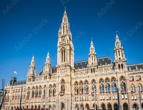 Vienna town hall on a sunny day with blue sky, Vienna, Austria