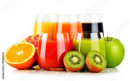 Fototapeta Glasses of assorted fruit juices isolated on white. Detox diet obraz na płótnie