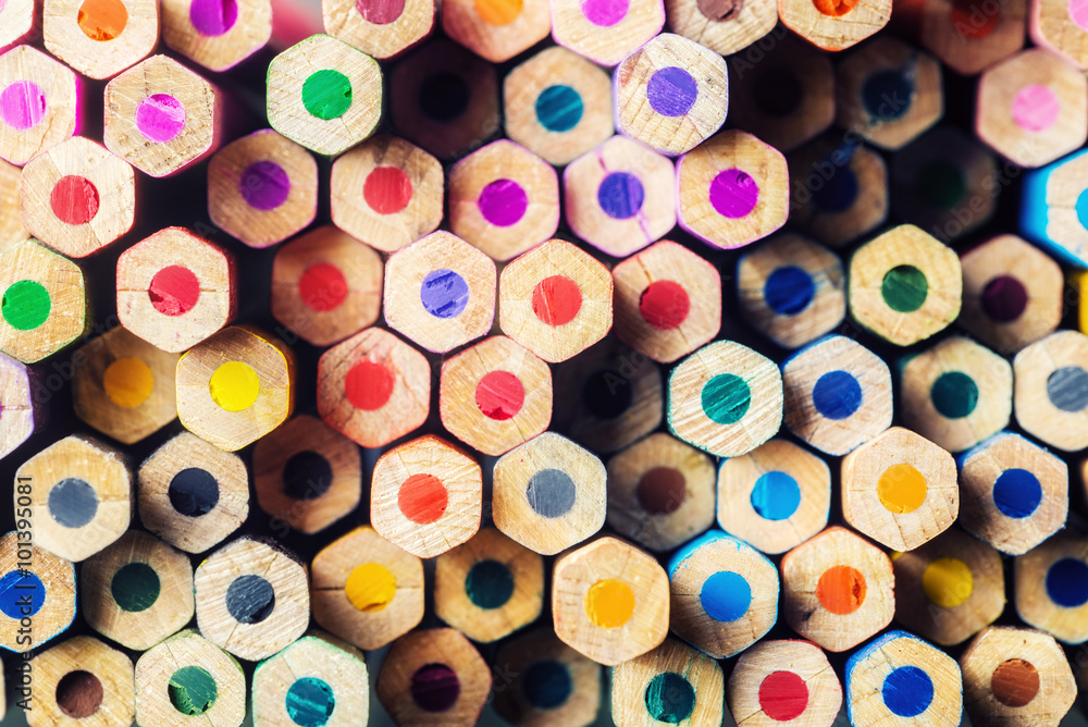 Fototapety, obrazy: Pile of multicolored pencils
