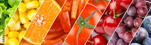 Spoed Foto op Canvas Vruchten Background of fruits, berries and vegetables