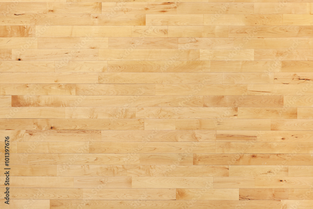 Fototapeta Hardwood basketball court floor viewed from above