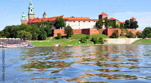 Krakau - Blick von der Weichsel auf die Wawel-Burg Canvas Print