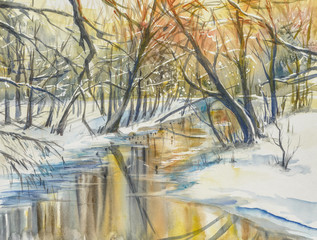 Fototapeta Zima Watercolor painting of wintera landscape:river in fores during sunset.
