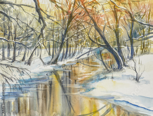Watercolor painting of wintera landscape:river in fores during sunset. - 101401070