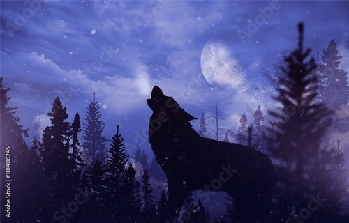 Howling Wolf in Wilderness Wallpaper Mural
