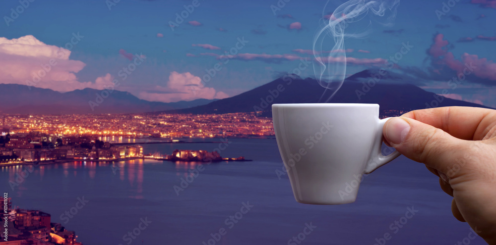 Espresso coffee cup over the Gulf of Naples