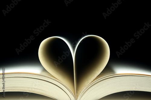 Fotografie, Obraz  Knižní stránky ve tvaru srdce