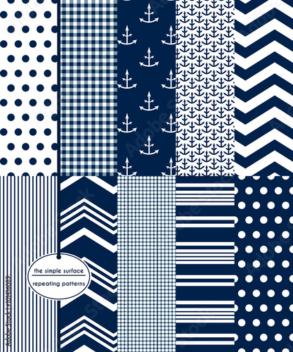Repeating patterns for digital paper, scrapbooking, cards, invitations, announcements, gift wrap, backgrounds and borders. File includes: anchor prints, polka dots, gingham, stripes, chevron and more - 101416089
