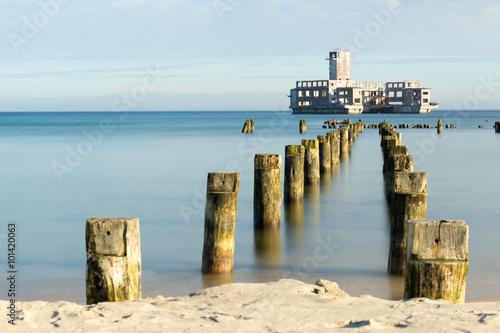 Ruins of famous german torpedo at Baltic sea in Gdynia Obraz na płótnie