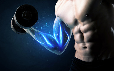 Fit athlete lifting weight with blue muscle light concept
