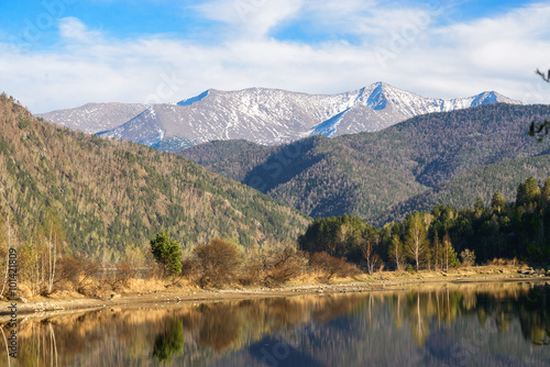 Printed kitchen splashbacks Reflection Mountain River Forest