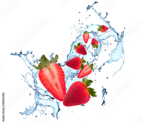 Poster Eclaboussures d eau Water splash with fruits isolated on white backgroud. Fresh strawberry