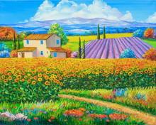 Original Oil Painting Sunflowe...
