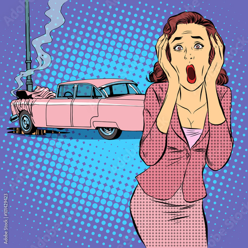 Staande foto Cartoon cars Female driver car accident