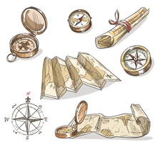 Set Of Hand Drawn Compasses An...