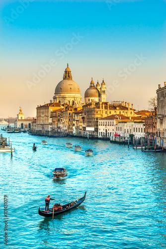 Poster Venice Grand Canal and Basilica Santa Maria della Salute, Venice, Italy