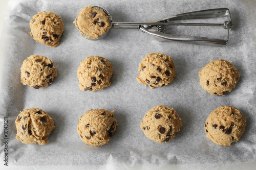 Tuinposter Koekjes chocolate chip coconut cookies dough, selective focus