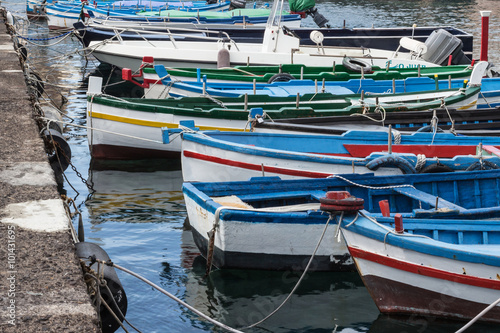 Garden Poster Water Motor sports Small boats anchored in Sicily, Italy.