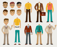 Vector Set Of Details To Create A Your Ideal Businessman In A Cardboard Cartoon Style.