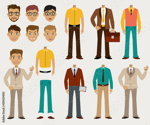 Valokuva Vector set of details to create a your ideal Businessman in a cardboard cartoon style