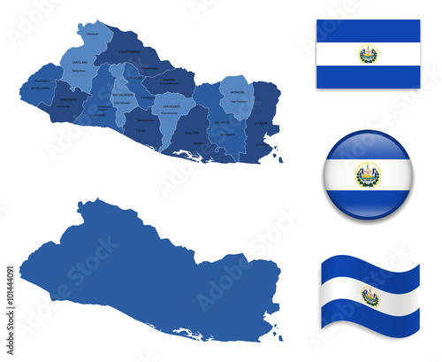 High Detailed Map od El Salvador With Flag Collection Buy this