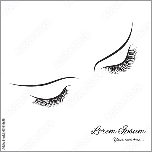 Fotografía  Closed eyes with long eyelashes Sample logo for a beauty salon, beauty products
