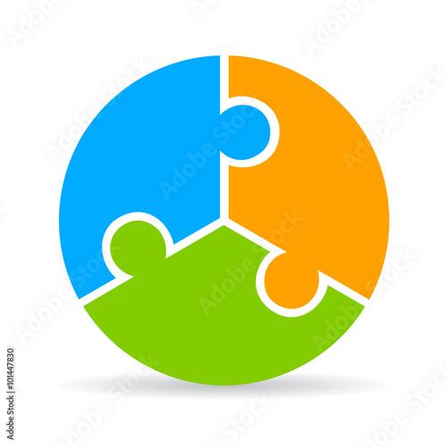 Fotografie, Obraz  Three part puzzle process diagram