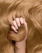 canvas print picture - Close up blonde glänzende Haare mit Hand