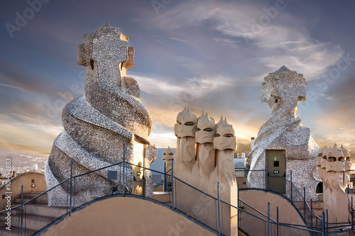 Photo sur Toile Barcelona Barcelona, Spain. Casa Mila (La Pedrera) chimneys.